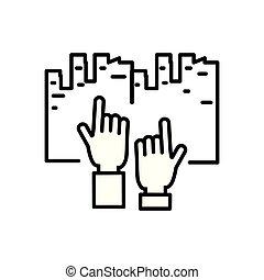 cityscape, índice, humanos, mãos