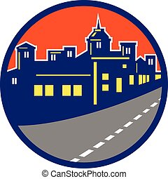 cityscape, edifícios, rua, círculo, retro