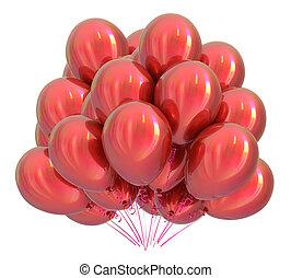 clássicas, hélio, colorful., decoração, aniversário, balões, vermelho, grupo