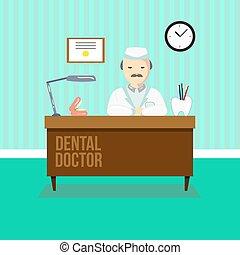 clínica, dental, odontólogo