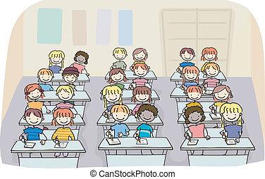 classe, crianças, vara, escrita