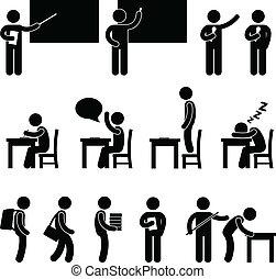 classe, quarto escola, estudante, professor
