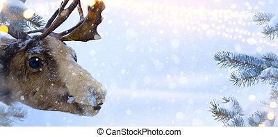 claus, arte, santa, cartão natal, veado, saudação
