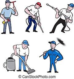 cleaner-worker-cartoon-set