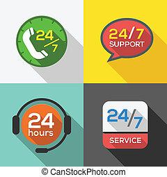 cliente, 24, jogo, serviço, apartamento, apoio, horas, ícone