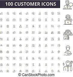 cliente, conceito, esboço, jogo, ícones, ilustração, vetorial, linha, sinais