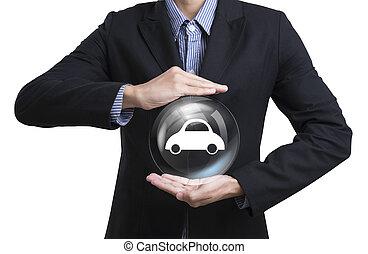 cliente, conceito, negócio, car, empregados, insurance., protegendo, cuidado