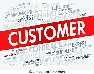 cliente, conceito, palavra, nuvem, tag