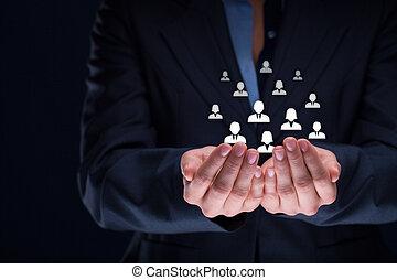 cliente, empregados, conceito, ou, cuidado