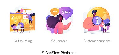 cliente, metaphors., conceito, apoio, vetorial