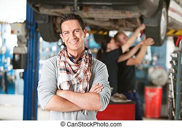 cliente, reparar, feliz, loja, automático