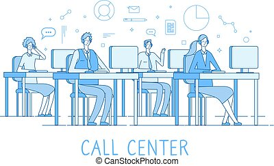 cliente, suportar, conceito, centro, serviço, concept., computadores, cliente, serviços, vetorial, chamada, operador, apoio, linha, helpdesk