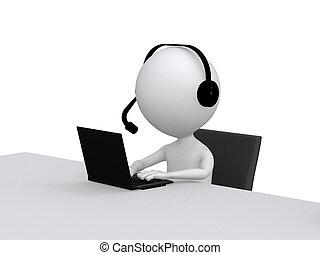 cliente, support., pequeno, headsets, laptop, personagem, computador, human, 3d