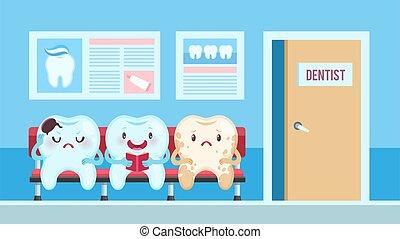 clinic., escritório, esperando, crianças, conceito, sorrindo, caricatura, dentes saudáveis, emotions., dente, sala, vetorial, dental, odontologia, transtorne, diferente, pacientes, cute, doendo, odontólogo