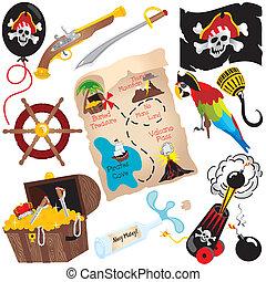 clip, partido, arte, pirata, aniversário