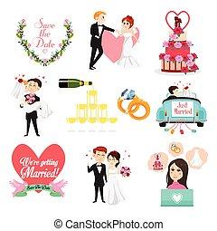 cliparts, casório, celebrações, ícones