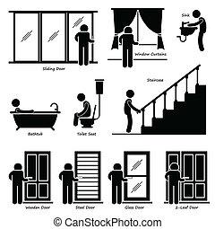 cliparts, lar, instalações, indoor, casa