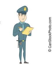 clipboard., escrita, uniforme, jovem, policial
