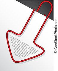 clipe para papel, dado forma, seta vermelha