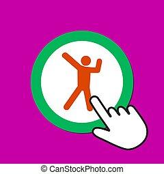 cliques, feliz, cursor, dançar, alegria, concept., mão, icon., macho, button., rato