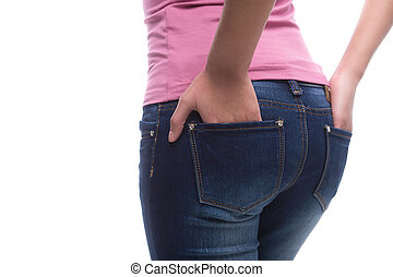 close-up, bundas, bolsos, femininas, calças brim, isolado, enquanto, mulher segura, mãos, branca, jeans., vista traseira