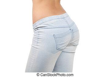 close-up, bundas, femininas, buttocks., calças brim, isolado, fundo, branca