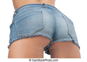 close-up, bundas, shorts, shorts., calças brim, isolado, femininas, branca