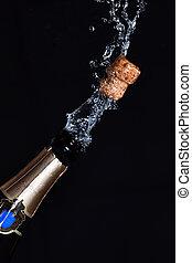 close-up, champanhe, explosão