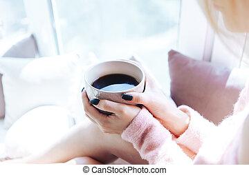 close-up, coffee., copo, fêmea passa, ter