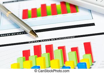 close-up, crescimento, financeiro, gráficos, caneta