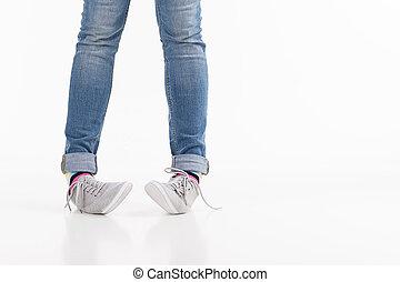 close-up, femininas, isolado, legs., branca, pernas, sapatos