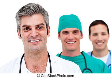 close-up, homens, equipe, médico