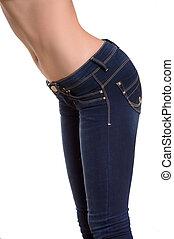close-up, mulher, calças brim, isolado, jeans., branca, vista lateral