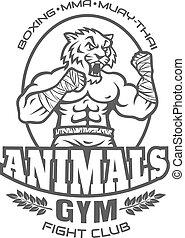 clube, logotipo, desporto, luta