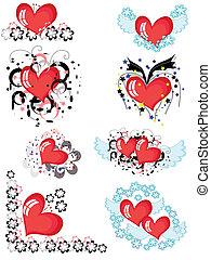 cmyk, corações, decoração