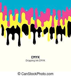 cmyk, illustration., líquido, gotejando, drip., pintura, vetorial, tinta, stain., tinta