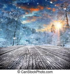 coberto, floresta, paisagem inverno, neve