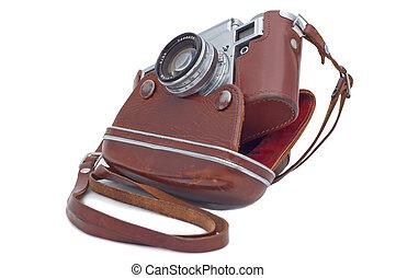 cobertura, câmera, antigas, isolado, white.
