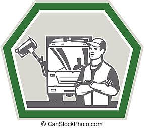 cobrador, caminhão, lixo, lixo, retro