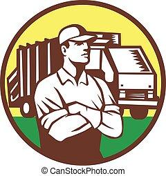 cobrador, lixo, círculo, caminhão, retro, lixo