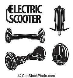 cobrança, elétrico, isolado, chalkboard., desenhado, linha, style., roda, scooters, hoverboard, mono, arte, gráfico