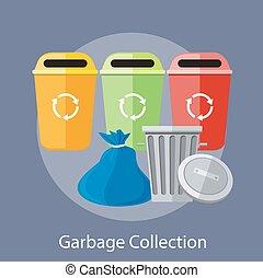 cobrança, reciclagem, latas, lixo