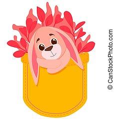 coelhinho, folhas, valentines, sentando, bolso, coelho, branca, experiência., cor-de-rosa, hearts., cute, ilustração, forma