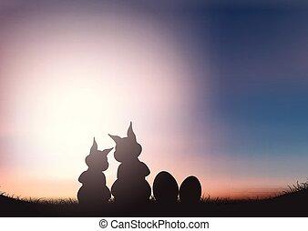 coelhinhos, silueta, céu, contra, pôr do sol, páscoa