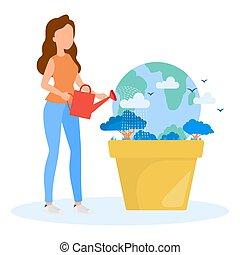 cofre, mulher, despeja, concept., aguando, água, lata, terra, earth.