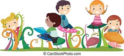cogumelos, crianças, stickman