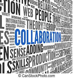 colaboração, conceito, palavra, nuvem, tag