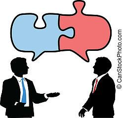 colabore, pessoas negócio, quebra-cabeça, ligar, conversa