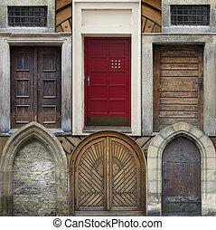 colagem, abstratos, antigas, portas