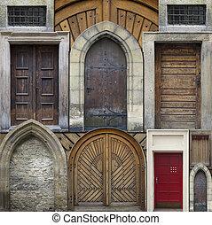 colagem, -, abstratos, antigas, portas